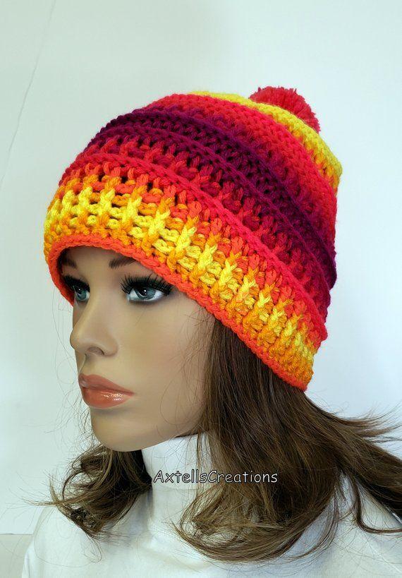 Rainbow Ombre Striped Ski Hat with Pom Pom 7633361d279