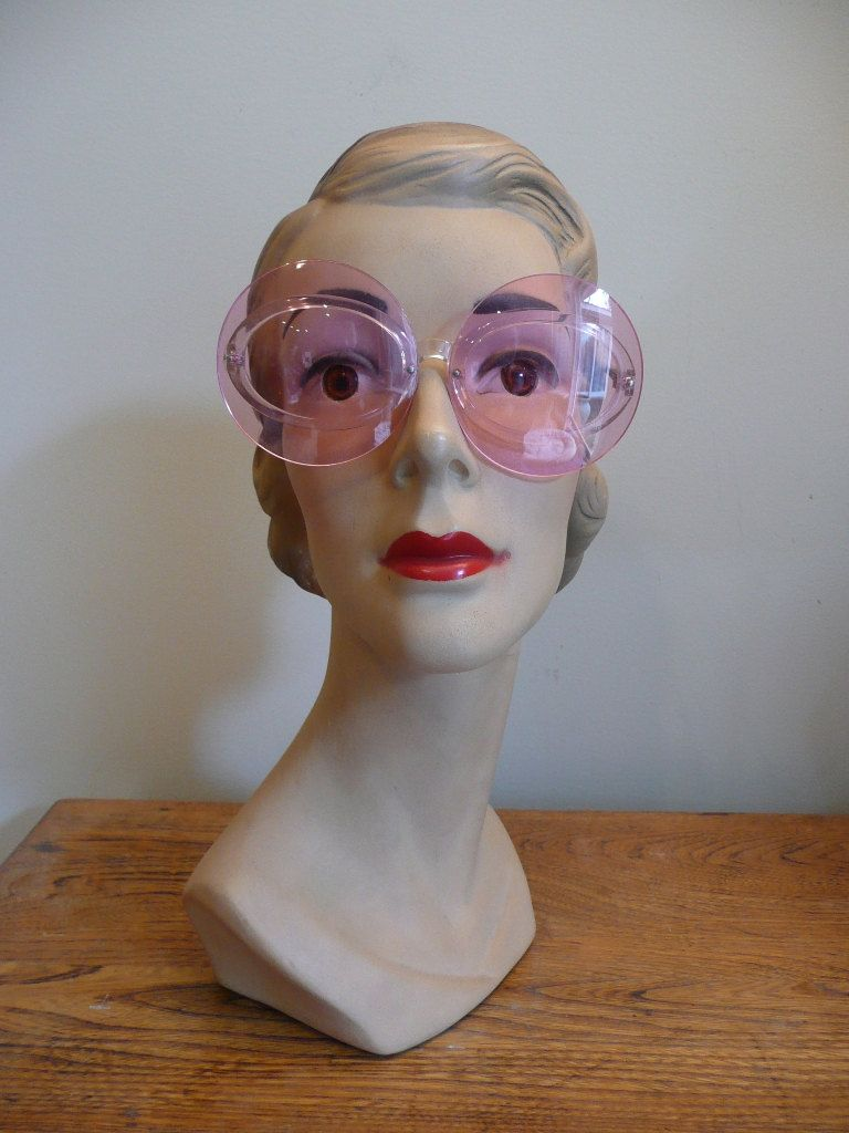 Vintage 1960s Sunglasses Large Pink Mod