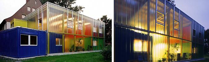 """Casa parador """"bed by night"""" para niños y adolescentes sin hogar, integramente hecha con contenedores reciclados y pintados de colores vivos. Alemania"""