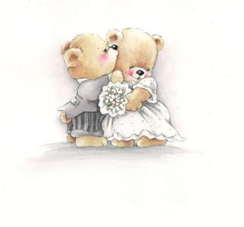 Надписью, открытки на свадьбу медведи