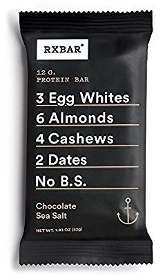 "If you love transparency and simplicity when it comes to reading ingredient lists, you'll love RXBAR's model. The ingredients in each bar are clearly listed on the face of the packaging, and the chocolate sea salt bar is made with egg whites, almonds, cashews, dates, and ""no B.S."" At 12 grams of protein per serving, we tend to agree."