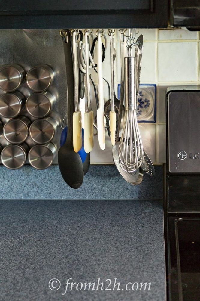 Do This With Cup Hooks To Completely Declutter Your Kitchen Countertop And It Costs Just 4 Make Utensil Storagestorage Ideasutensil