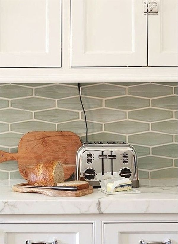 Sea Glass Tile Backsplash White Kitchen Elongated Hexagons