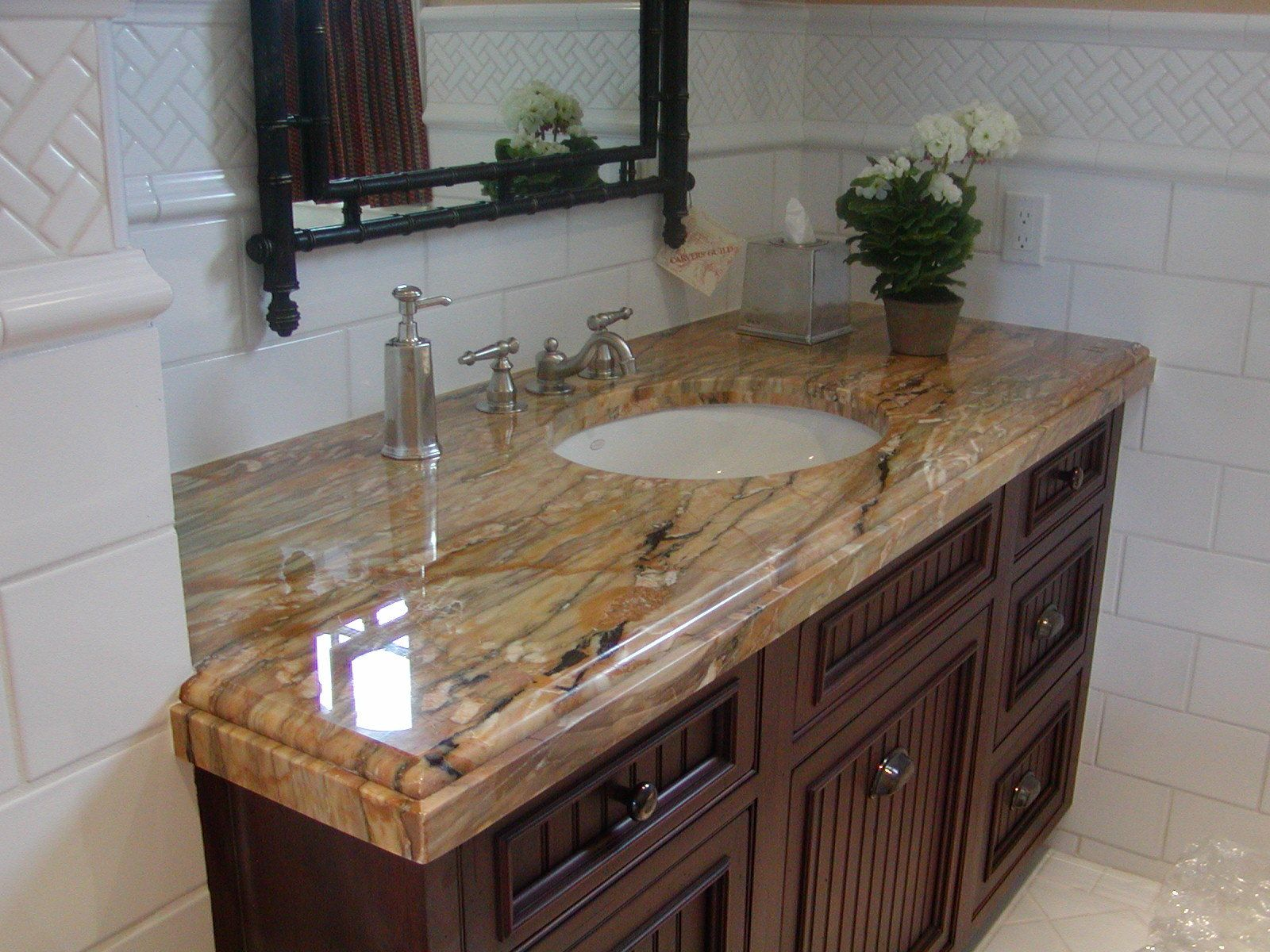 Brown / Tan /White Granite Vanity With Oval Undermount Sink And Dark  Colored Cabinets |