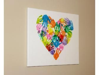 Handprint heart canvas art from miss audrey 39 s th 1 39 s class for Painting craft projects
