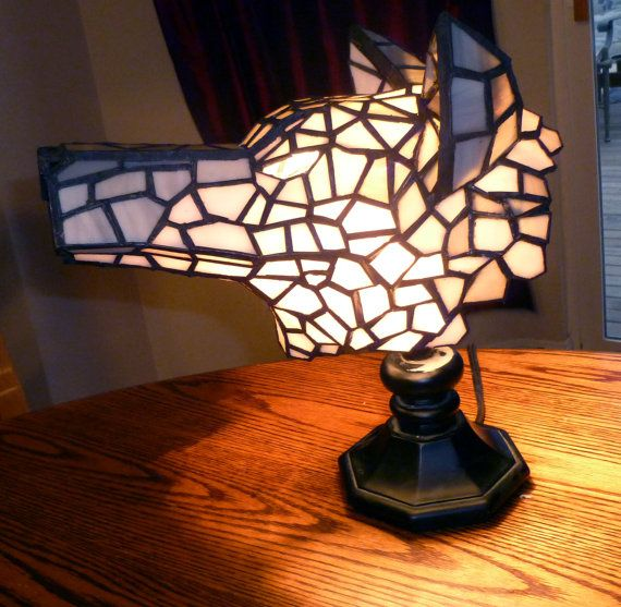 3d Stained Glass Tiffany Style Wolf Head Lamp On Etsy 470 00 Lamp Tiffany Style