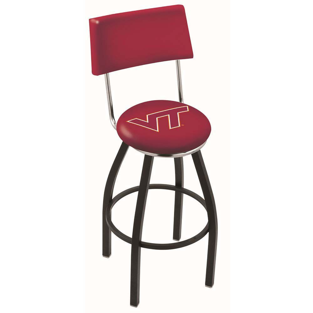 Chrome Virginia Tech Hokies Swivel Bar Stool w/ Back