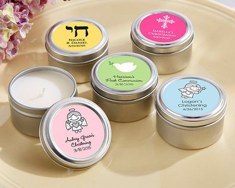 Personalized Candle Favor Tin Religious  | $1.44 at www.EventDazzle.com  | Religious Favors |Christening Favors | Baptism Favors | Bar Mitzvah Favors | Personalized Favors | Communion Favors