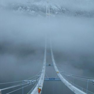Bridge building in Norway...this looks a bit scary..
