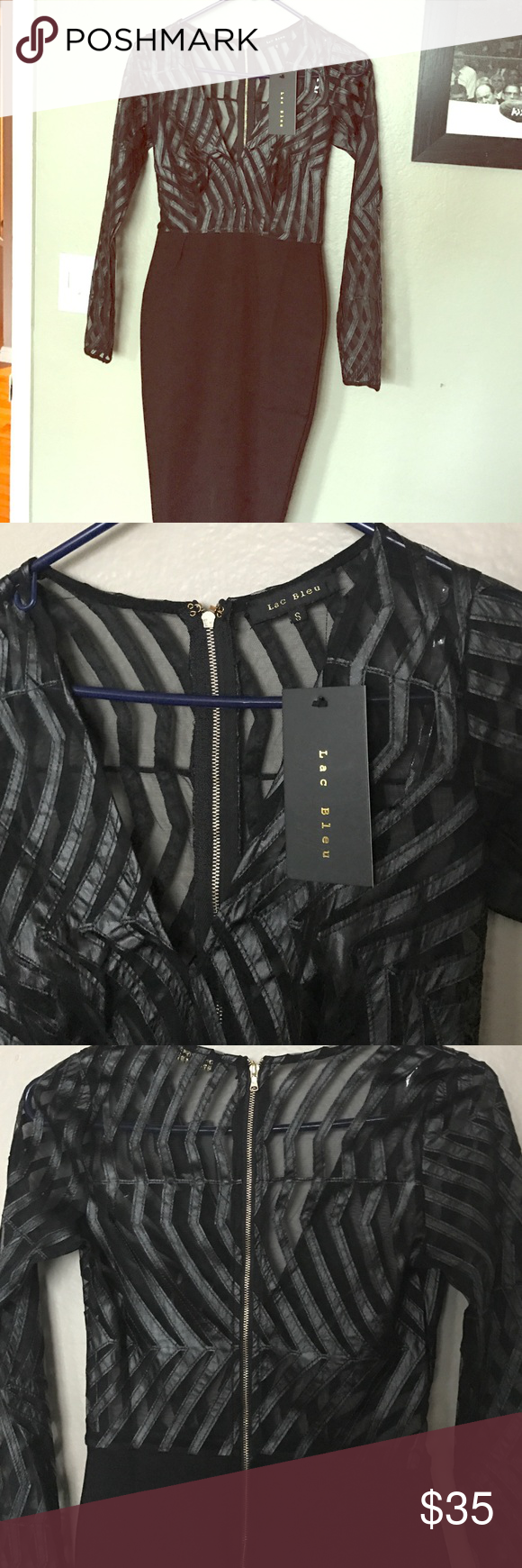 Sexy little black dress😘 Brand new sexy black dress purchased from Fashion Nova.  This dress will turn heads for sure!  Bottom is made of a spandex material, top is sheer with faux leather detailing.  Gold zipper in the back that makes it easy to get on and off.  Bought for Vegas but it didn't make the cut.  Originally purchased for $40.  Please make me a reasonable offer.  Thanks for looking😎 Lac Bleu Dresses Midi
