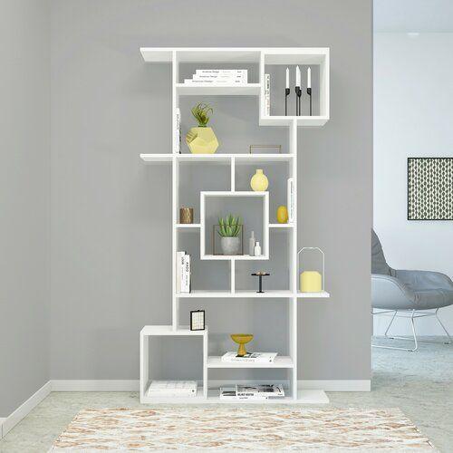 Ebern Designs Chianna Bookcase Solid Wood Shelves Cube Bookcase