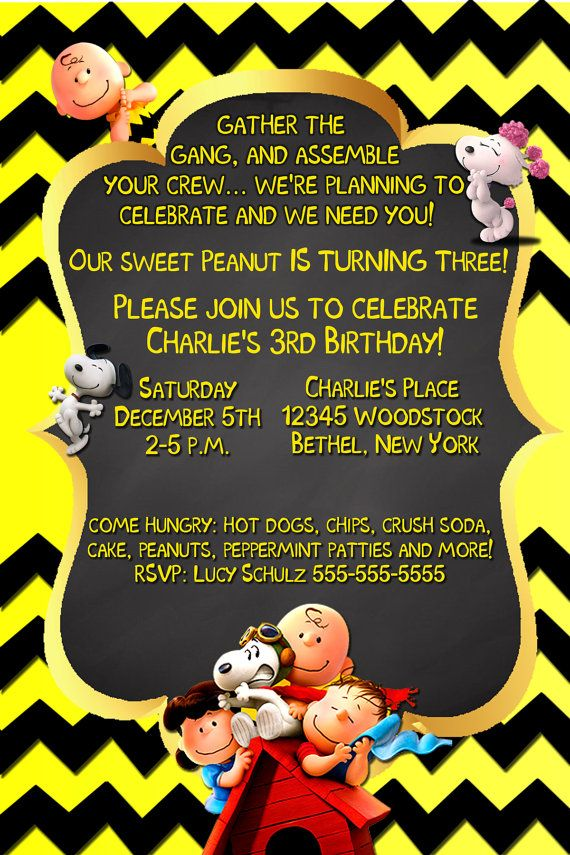 Charlie Brown Invitations Birthday Invitation Peanuts Snoopy Fifi Lucy Linus Invites