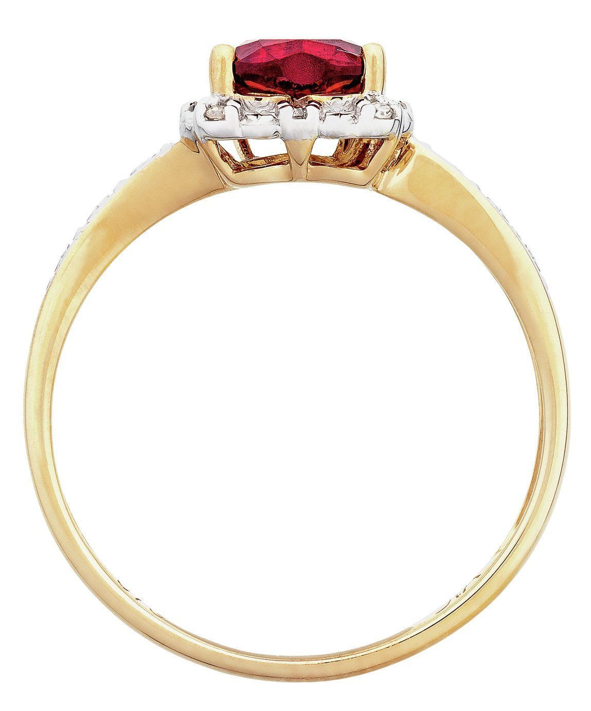 Revere 9ct Gold 2pt tw Diamond & Created Ruby Heart Ring - I#2pt #9ct #created #diamond #gold #heart #revere #ring #ruby