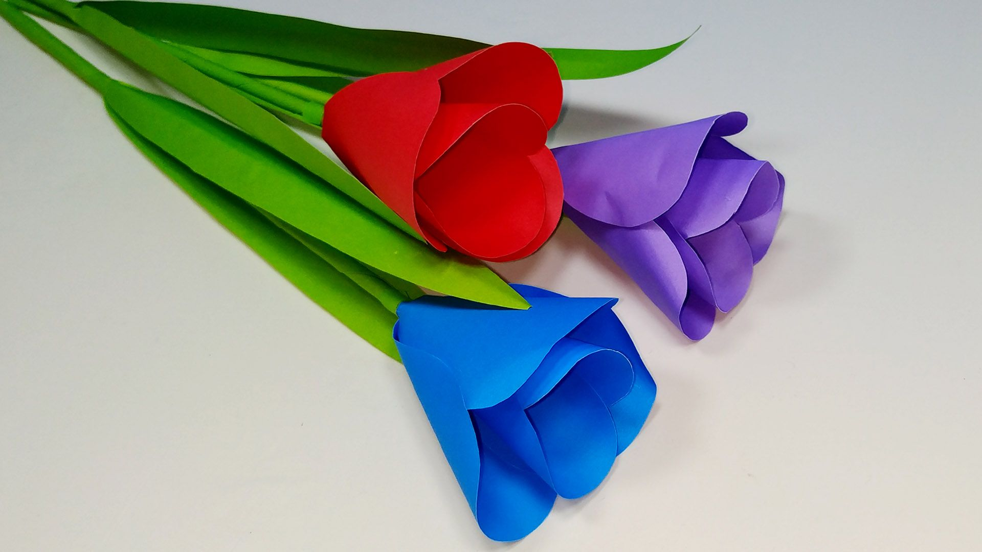 Paper Flower Making Easy Making Paper Tulip Flower Tulip Flower Craft How To Make Paper Flowers Flower Crafts Tulips Flowers