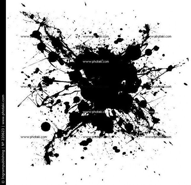 Van zwart-witte inkt splat met willekeurige vormen en vuile grunge effect