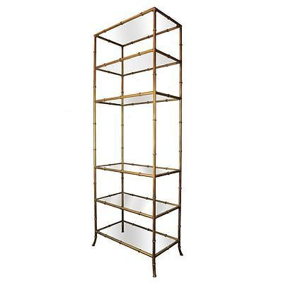 Vtg Hollywood Regency Tall Narrow Faux Bamboo Gold Gilt Iron Etagere  Bookcase