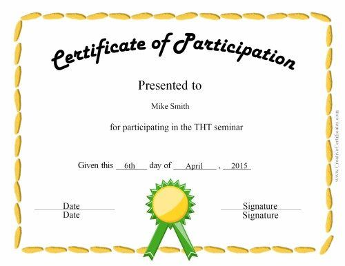 fun certificate for kids new Pinterest Certificate, Free - certificate of participation format