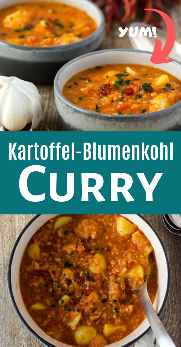 Mild curry with lentils potatoes and cauliflower Low calorie vegan and made easy Can also be super prepared and even frozen rezepte calorie dinner calorie food calorie re...