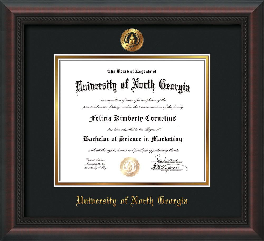 U of North Georgia Diploma Frame-Mahogany Braid-w/UNG Seal-Black ...