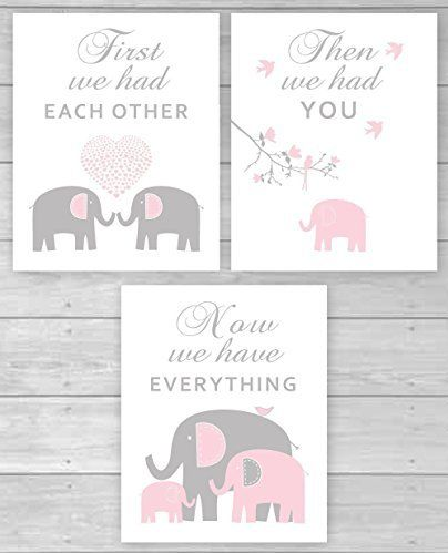 Pink and gray elephant CANVAS wall art baby girl nursery art