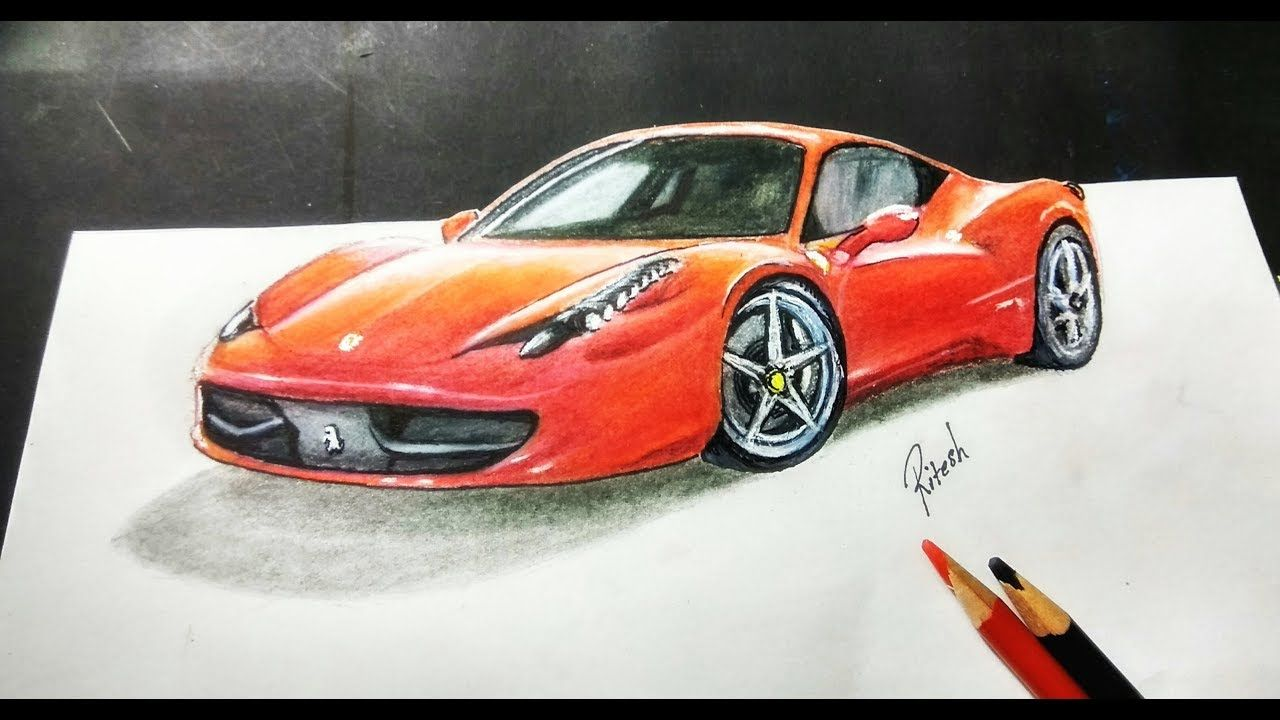 How To Draw 3d Ferrari Car Step By Step 3d Drawing Tutorial 3d