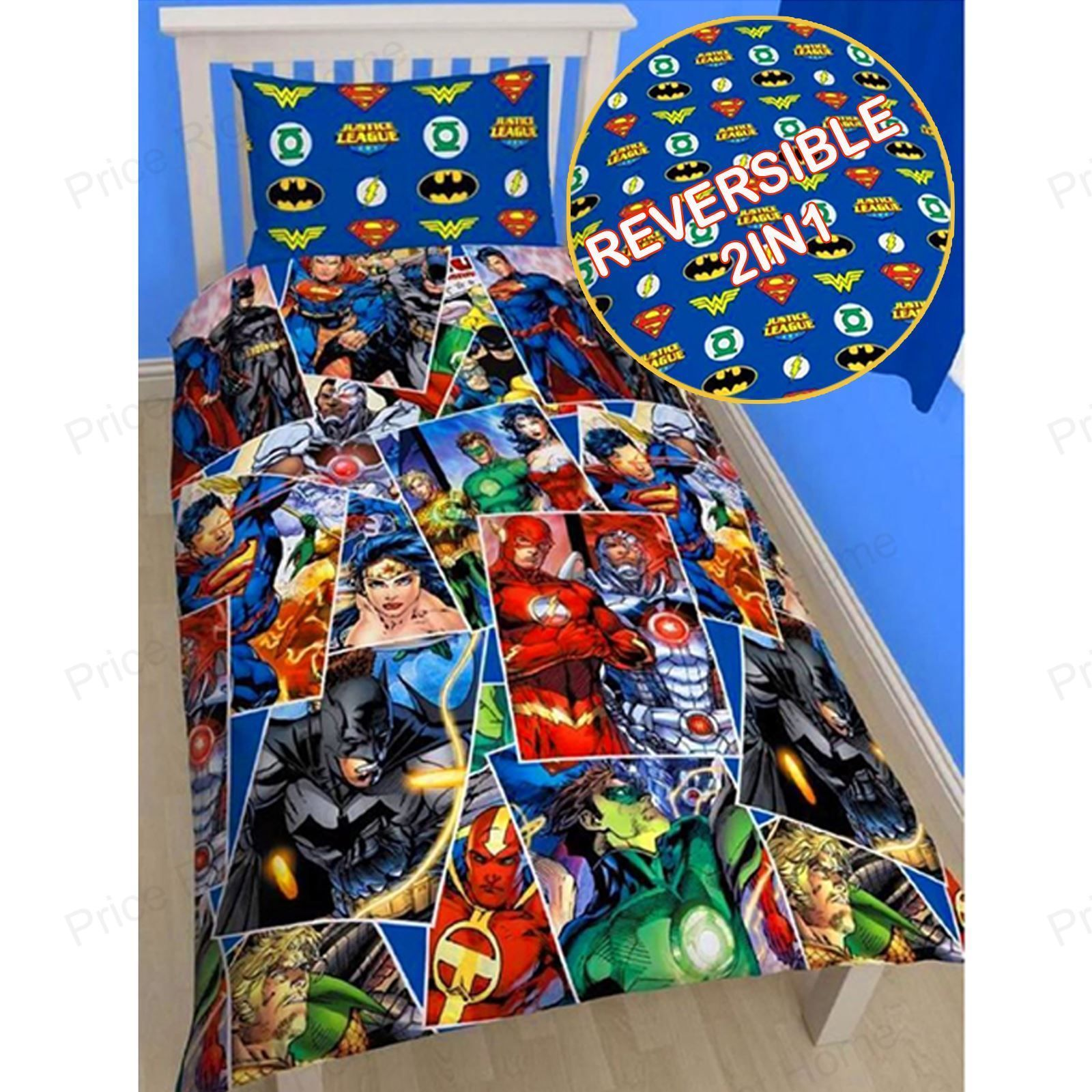 JUSTICE LEAGUE ~Awasome Four~ Super Hero Double/Full Size Quilt Cover Set  New | Quilt cover, Bedrooms and Room