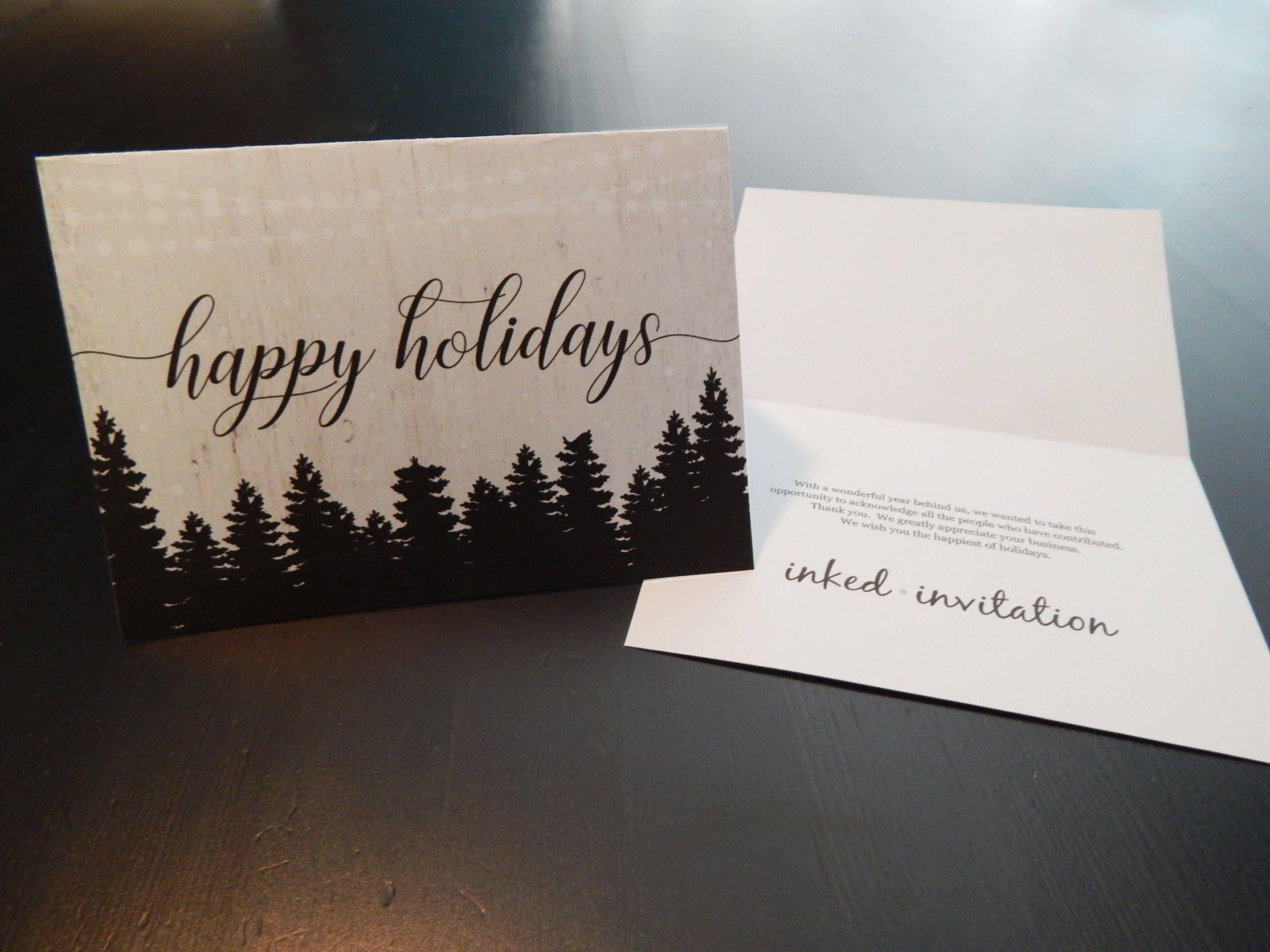 Add Business Logo Holiday Card Printable Corporate Christmas