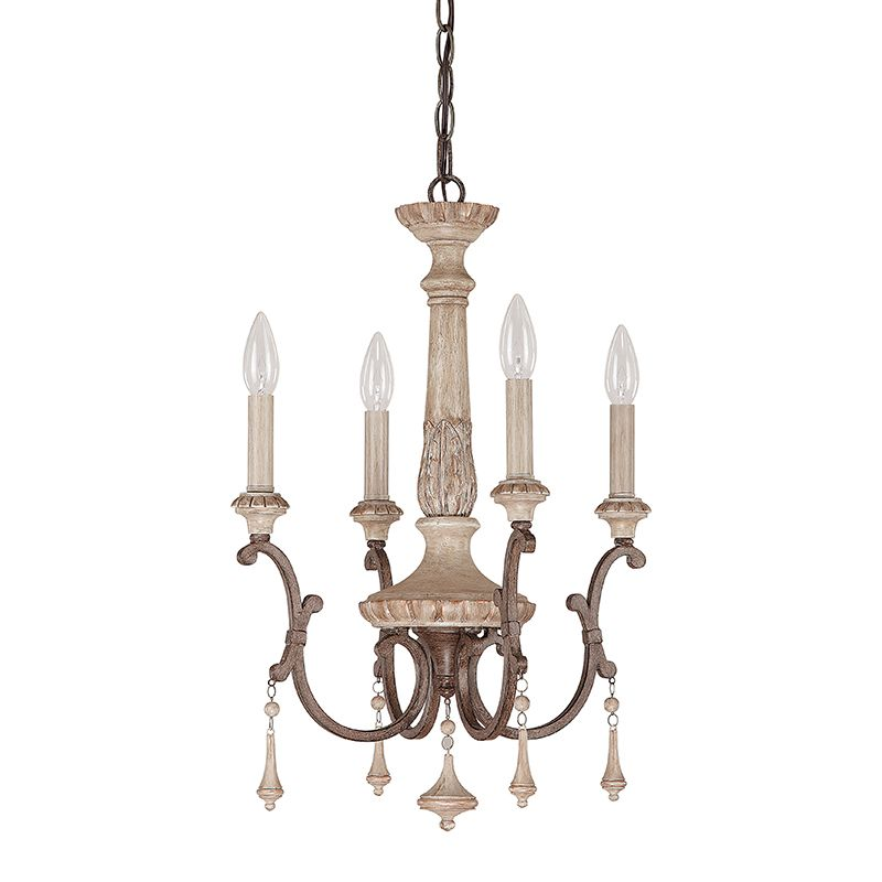 The Feminine Curves Painted Wood Look Fob Accents And French Oak Finish On Our Cau 4 Light Chandelier Are Reminiscent Of Lighting You D See