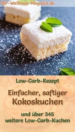 Einfacher, saftiger Low Carb Kokoskuchen - Rezept ohne Zucker