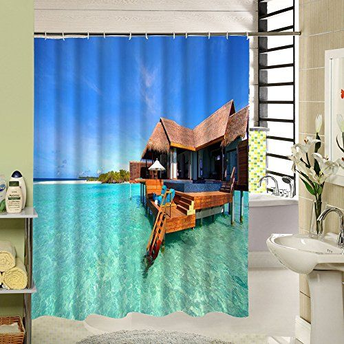 Beach MildewResistant Antibacterial Waterproof Shower Curtain 72x78 Inch Be Sure To Check Out This Awesome Product