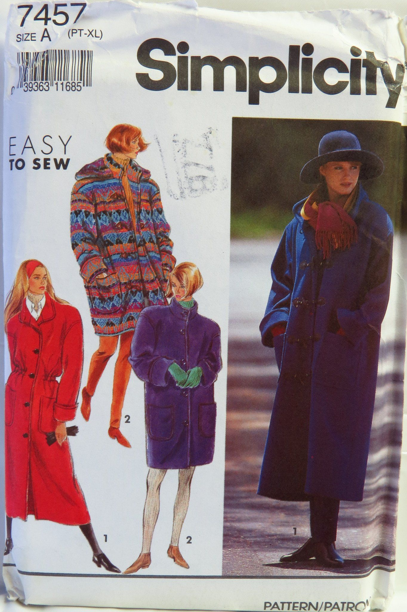 Simplicity 7457 Misses  Lined Coat in Two Lengths with Detachable Hood 592460163