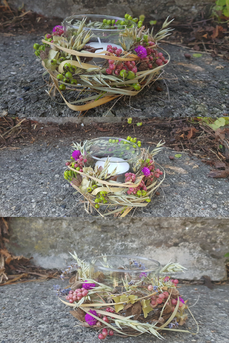 Herbstdeko für den Tisch Herbstliches Windlicht selber kreieren Naturmaterialien stehen im Vordergrund. #herbstdekotisch
