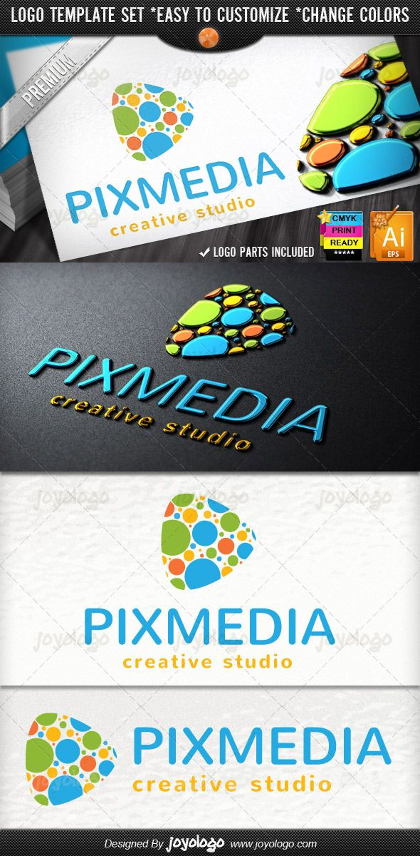 Audio Bubbles Music Creative Pixel Dots Media Play Logo Template