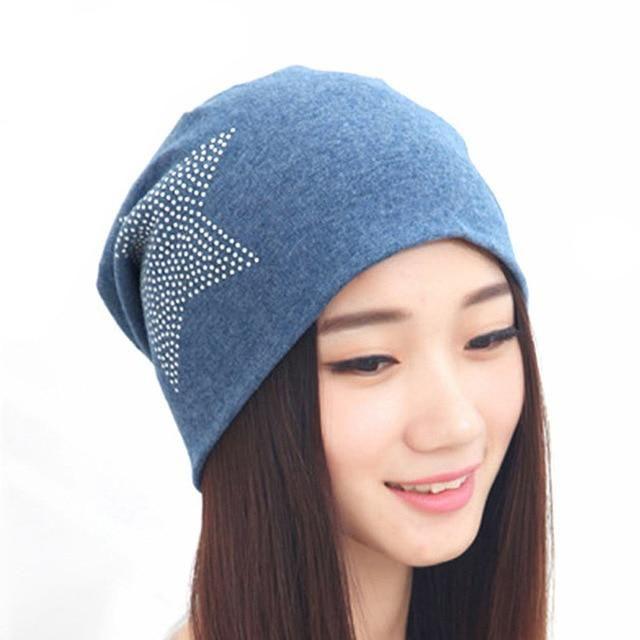 5da8e60f8c20e Fashion Knit Baggy Beanie Hat with Star Female Warm Winter Hats for Girls Women  Beanies Bonnet Head Cap