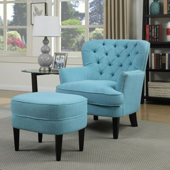Petra Fabric Accent Chair With Ottoman