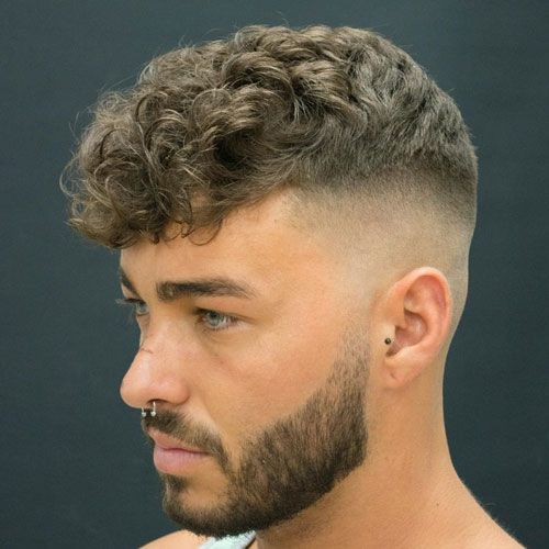 Razor Fade Curly Hair Fringe Thick Beard Ad Curly Hair Men Curly Hair Fade Mens Hairstyles Short