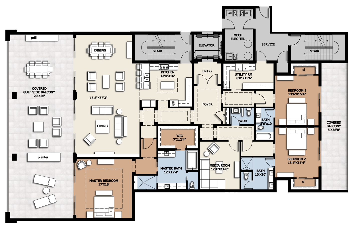 Floor plan residence b infinity longboat key condos for for 1 bedroom condo floor plans