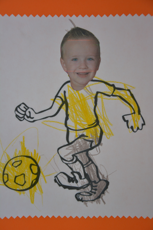 Voetballer met eigen foto als gezicht