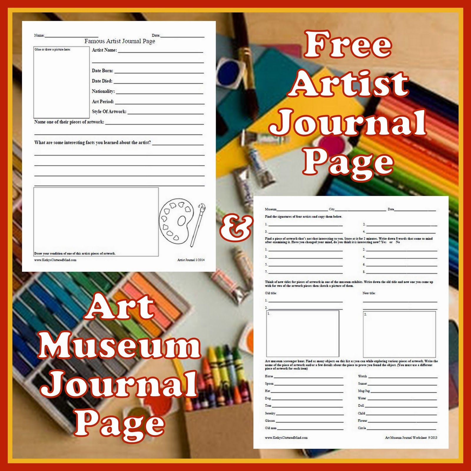 Museum Journal And Artist Sheets The Museum Sheet Has A