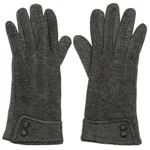 073f8c6918c07a CASPAR GLV010 klassisch elegante Damen Retro Winter Baumwoll Handschuhe mit  Zierknöpfen Farbe:grau;Größe