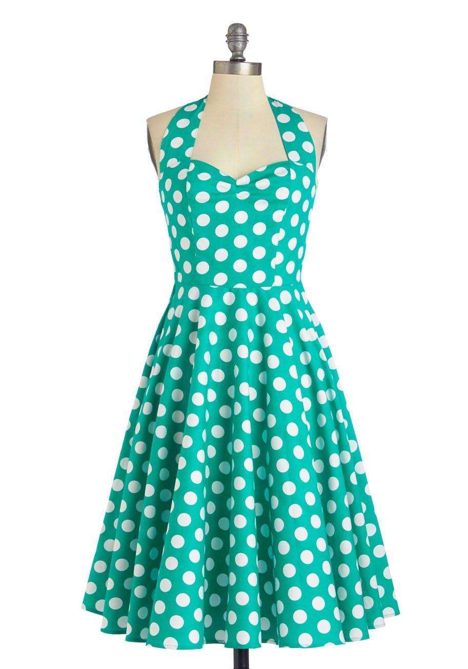 Green dress,50s Style Vintage Polka Dot Dress | Polka Dots ...