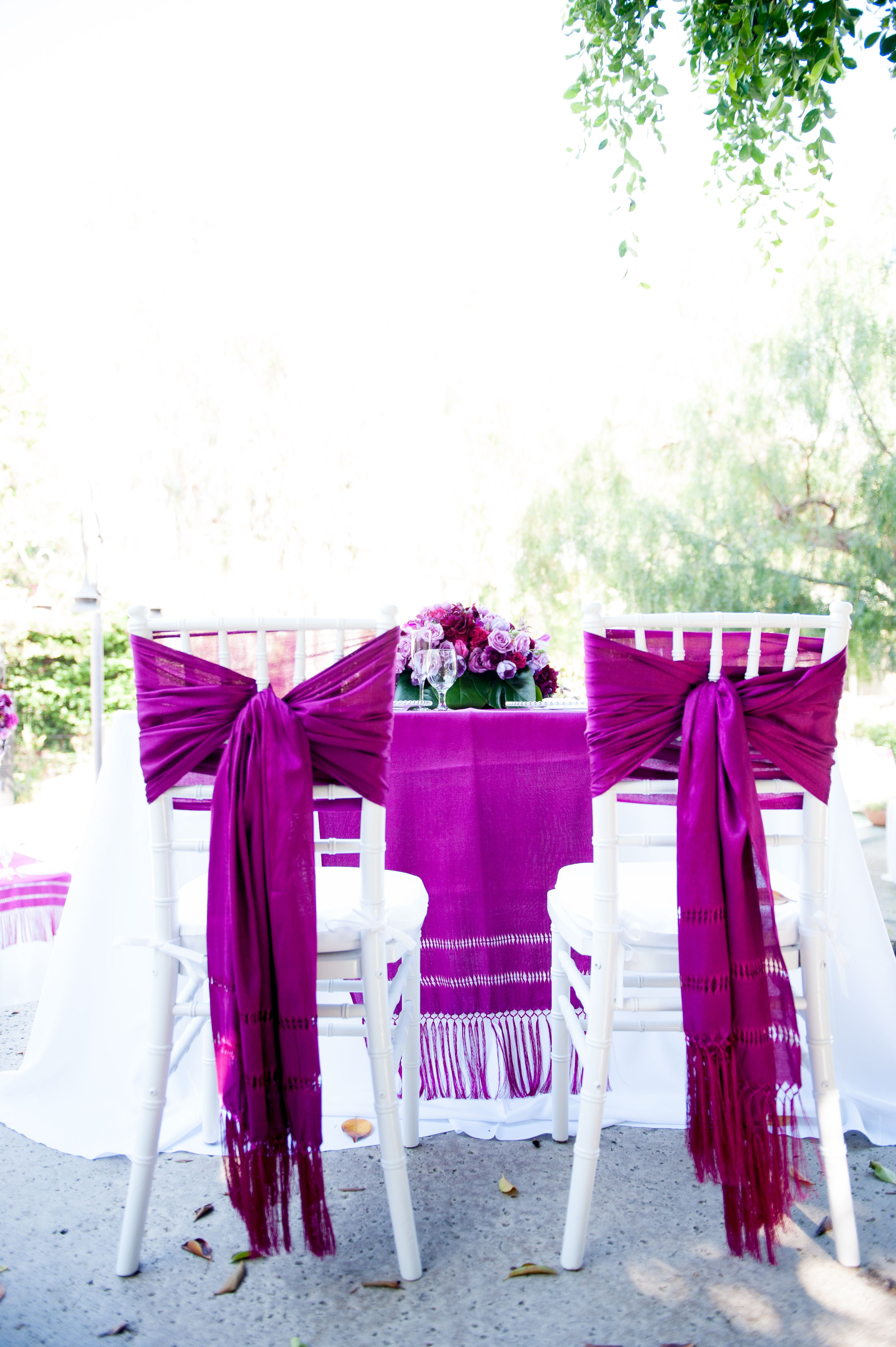 The Bride and Groom Chairs Mexican Rebosos Beautiful