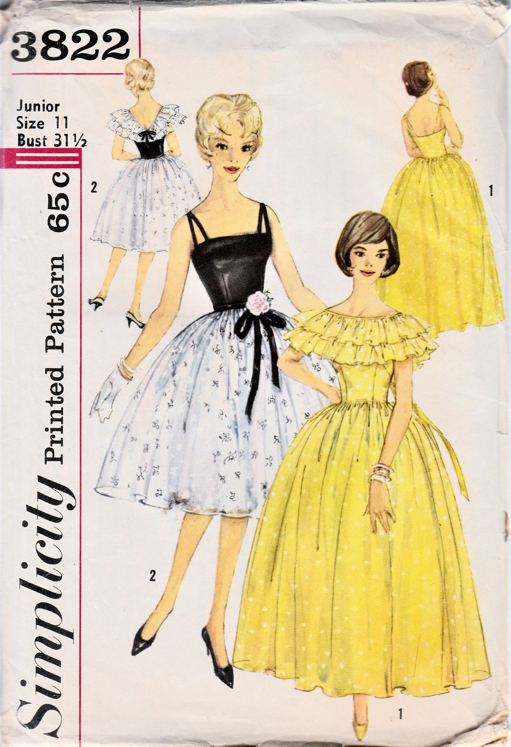 1960s Party Dress Sewing Pattern Ruffled Capelet Bouffant Etsy Gown Sewing Pattern Evening Dress Patterns Sewing Dresses [ 2490 x 1705 Pixel ]