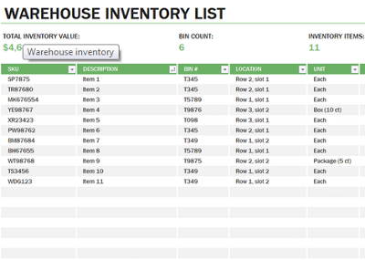 Learn Microsoft Excel: Warehouse inventory template free download ...
