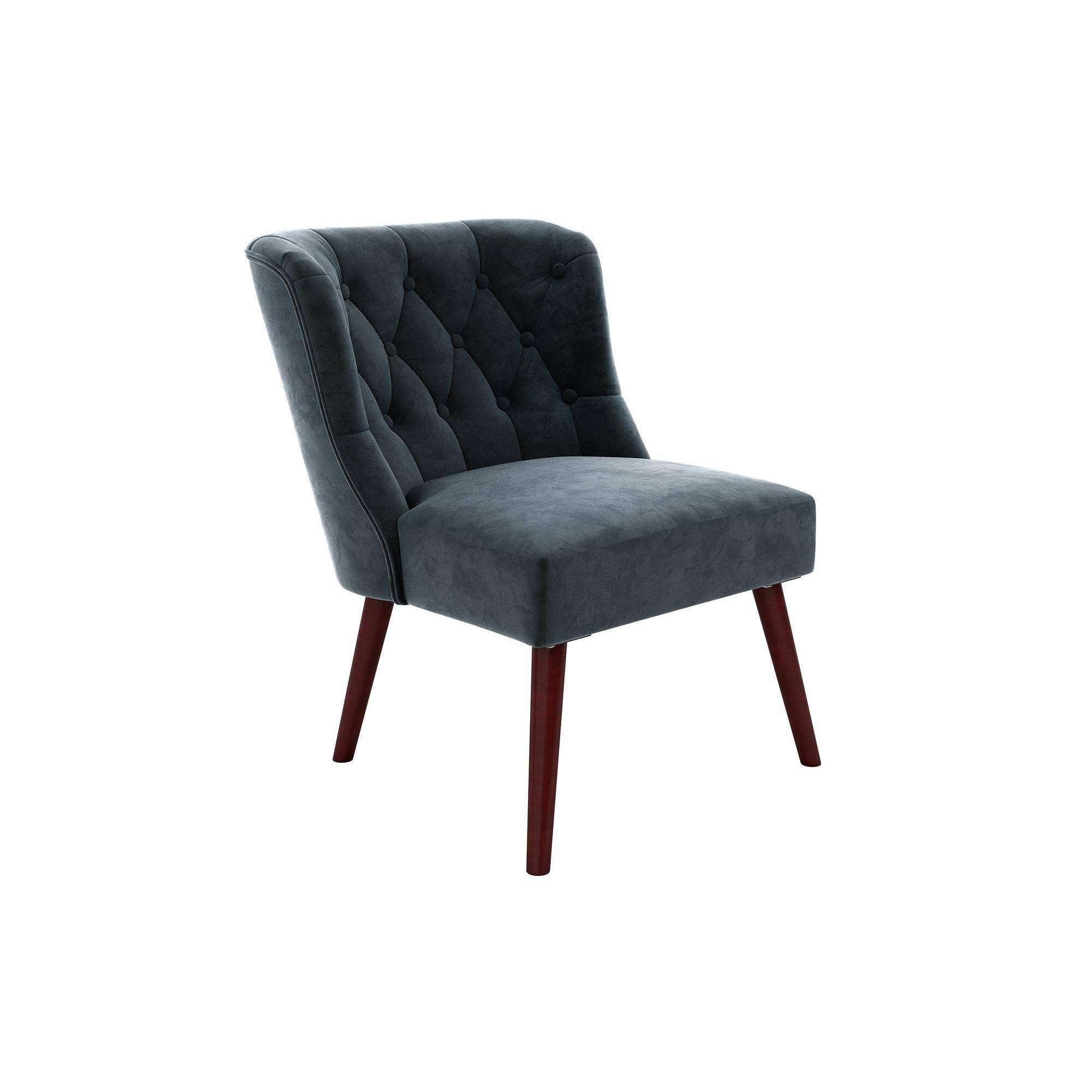 Best Vintage Tufted Accent Chair Blue Novogratz *D*Lt Unisex 400 x 300