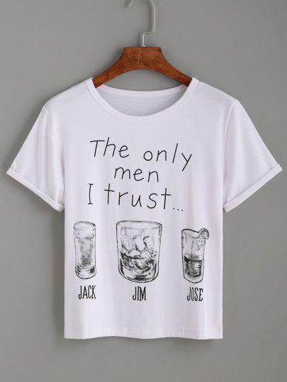 c63f208dfa White Letter Print T-shirt