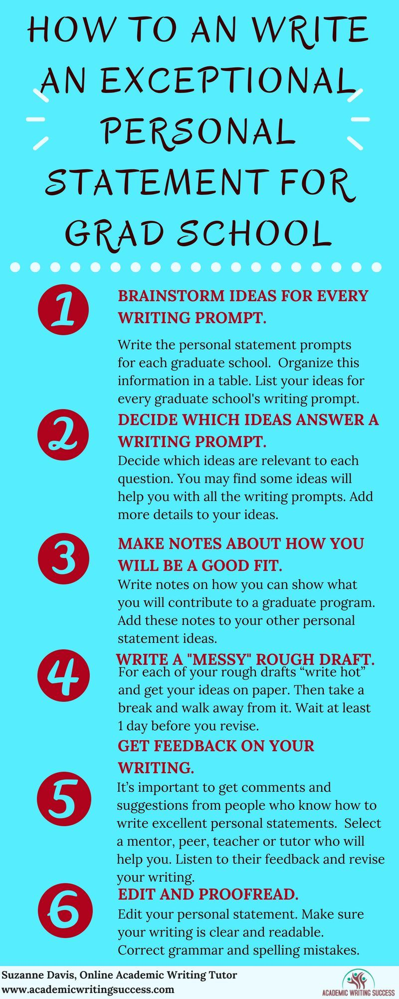 How To Write A Personal Statement 6 Step Succes Pin For Later Mba Statem In 2021 Grad School College Application Essay Steps