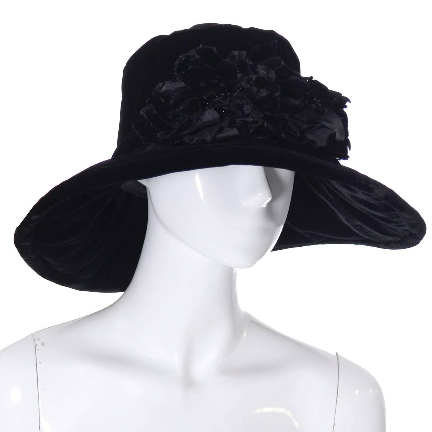 Donna Karan New York Vintage Hat Black Velvet Beaded Flowers Wide Brim NEW  Tags  f05f1c509946