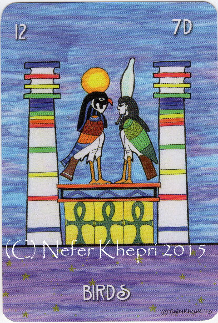 The Birds card from The #EgyptianLenormand, copyright Nefer Khepri 2012, 2015 & Schiffer Books 2015. The soul of Pharaoh, on the right, is accounting for his deeds to the god Horus, on the left, so he can gain entry into the Duat, the Egyptian underworld. The Birds card represents verbal communication in the #Lenormand divinatory system.