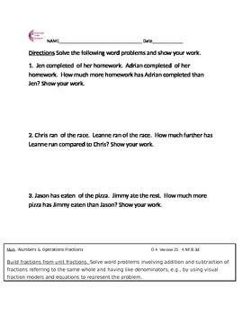 4.NF.B.3d Fraction Word Problems Fourth Grade Common Core ...